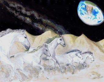 Lunar Gallop - Original Artwork - Mixed Media
