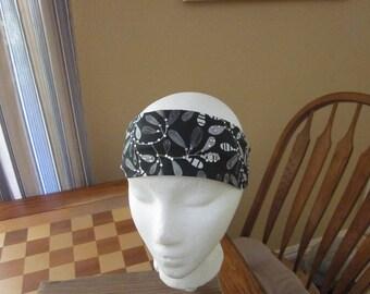 Black Large Leaf Print Headband with Rhinestones