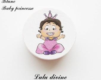 20 mm wooden bead, Pearl White flat: Princess Baby / Baby princess