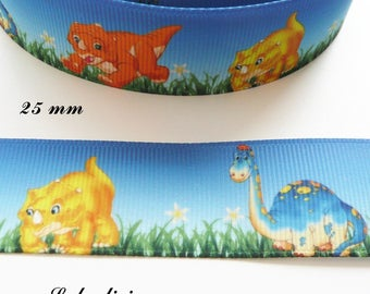 Grosgrain Ribbon background sky & grass small dinosaur 25 mm sold by 50 cm