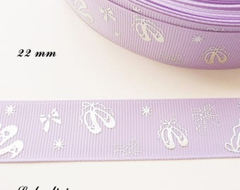 Purple grosgrain with ballerina effect 22 mm Ribbon sold by 50 cm