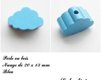 20 x 13 mm wood bead, Pearl flat cloud: Blue