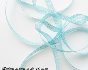 Glitter 10 mm, sold in 2 meters organza Ribbon: light blue with silver threads