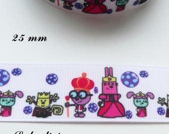 Funny characters of 22 mm white grosgrain Ribbon sold by 50 cm