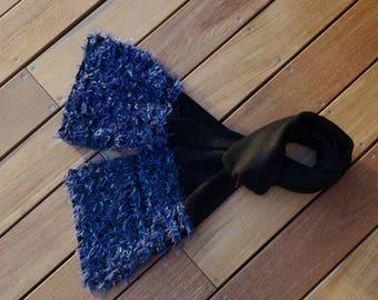 Beautiful black and blue handmade knit scarf