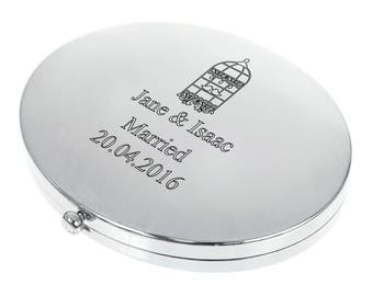 Personalised Engraved Oval Compact Mirror - Birdcage Design