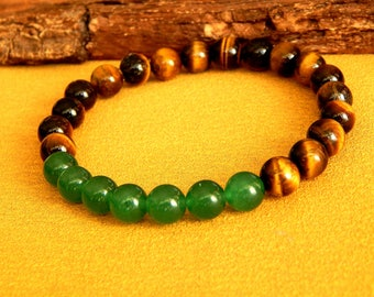 Mens natural stone bracelet with ' AAA Tiger eye and aventurine