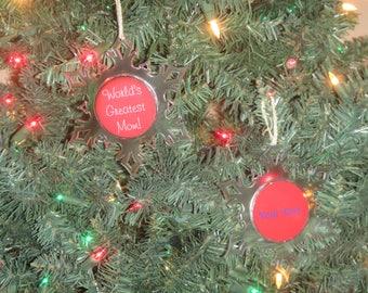 Worlds Greatest Mom Personalized Acrylic SnowFlake Ornament *Free Personalization*