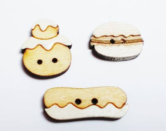 Set of 3 buttons theme greed wooden - pastry wooden decorative buttons - button wood in the shape of cakes