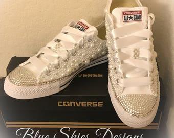 Girls Love Pearls Custom Bling Converse