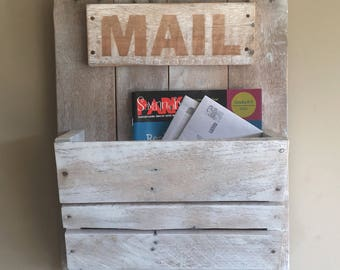 Distressed Ivory And Black Wooden Mail Box Home Office Decor