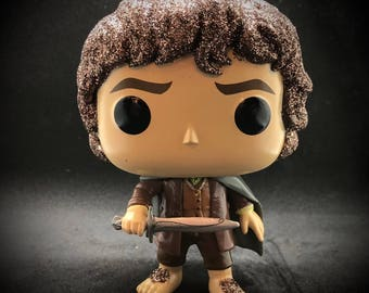 Glitter Frodo Baggins hobbit custom POP Funko! Made to order from The Lord of the Rings.  Valentine's Day gift for Tolkien fan!