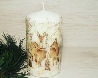 Unscented winter candle, Winter deers candle, Christmas candle, Christmas home decor, Christmas gift idea, Handmade decoupage candle