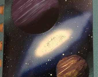 Spray Paint Art - Two Planet System with a Blue Galaxy