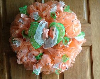 Whimsical peach and green deco mesh wreath