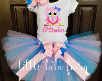 baby owl birthday tutu outfit pink owl tutu outfit