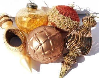 Set of 5 Large Autumn Colored Glass Ornaments - Christmas Tree glass ornaments decorations copper brown gold orange - Christmas decor