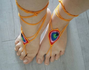 Foot jewels, Barefoot sandals, crocheted cotton (5)