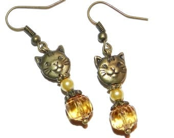 "Earrings ""cat"" bronze and yellow colors"