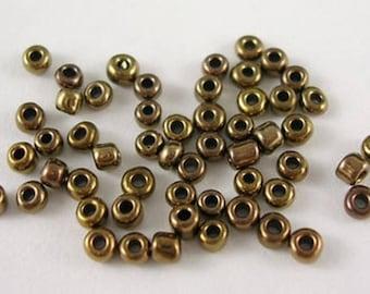 10gr rocaille brown Golden iridescent 2mm ♥
