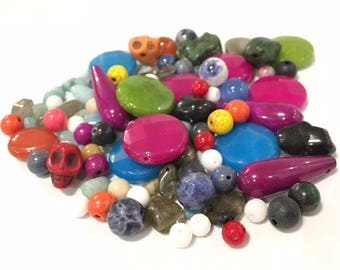 100g assorted semi precious and synthetic stone beads
