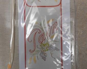 bread bag embroidery grape theme