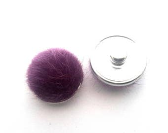 Fur pompom /mauve purple snap