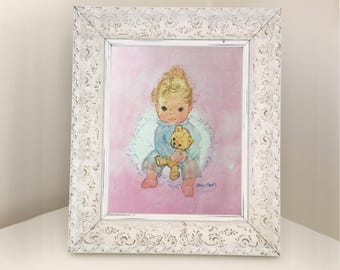 Vintage book illustration of a beautiful baby holding a teddy. A4 print for framing. Gift for baby boy or girl. Retro nursery decor from 80s