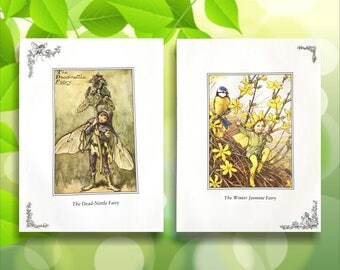 Winter Jasmine and Dead-Nettle Flower Fairy Print from vintage book. Woodland Fairies Nursery themed gift for girl. Illustration for framing