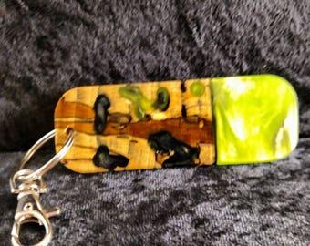 Hybrid wood and resin key chain