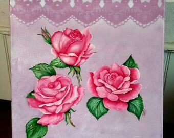 Acrylic paint pink roses and lace