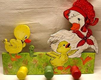 """Coat rack wooden children's room """"Mama duck and her ca"""