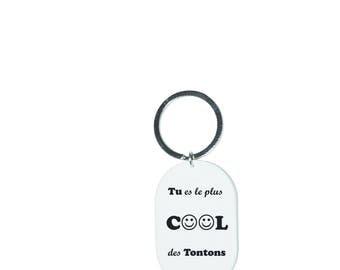 "Keychain ""You're the coolest tontons"" white"