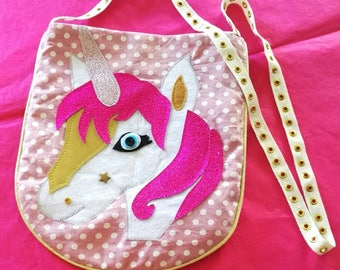 Girl Unicorn bag fuchsia pink and gold shoulder Golden rivets.