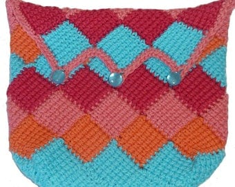 Makeup bag in Tunisian crochet cotton