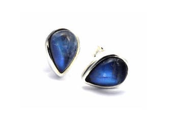 Rainbow Moonstone teardrop 925 Silver Stud Earrings