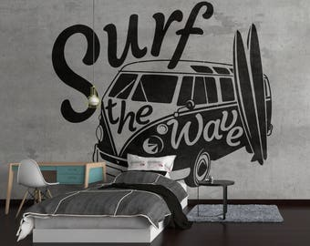 Surf the Wave with VW Camper - Vintage decor, Old Vintage Iconic Volkswagen Camper Van VWCV Classic Antique, VW Camper Tribute Wall Decal