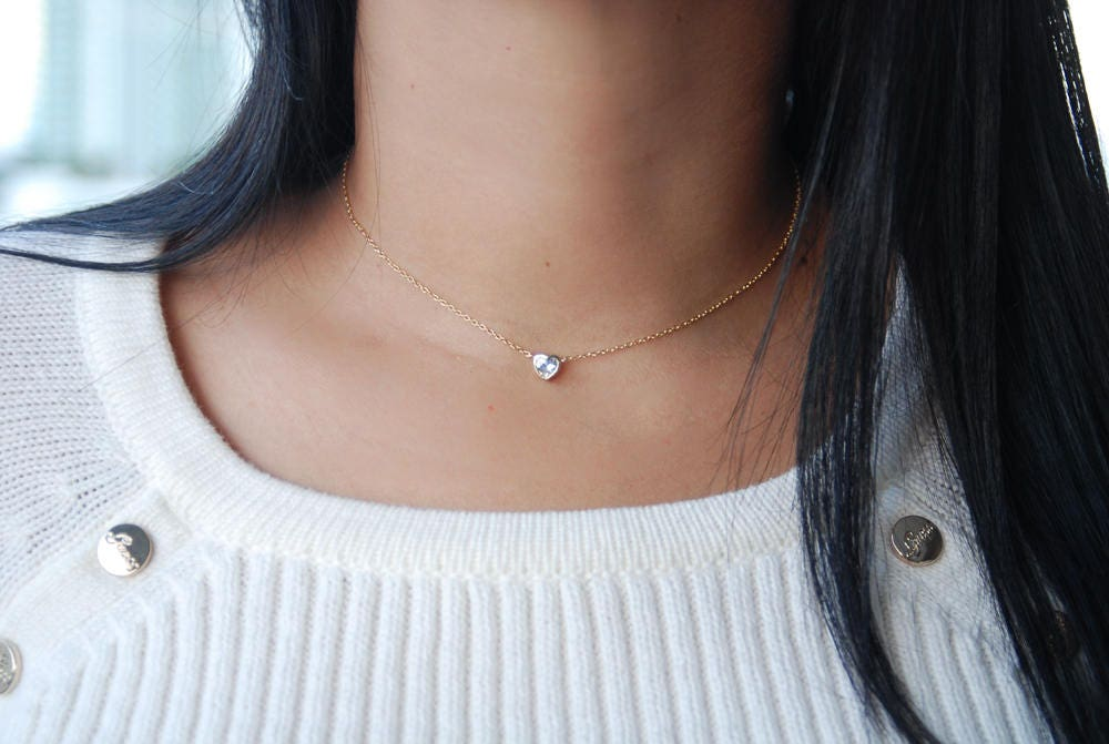 Delicate heart cz necklace choker with tiny diamond pendant 18k delicate heart cz necklace choker with tiny diamond pendant 18k gold plated 18k mozeypictures Gallery