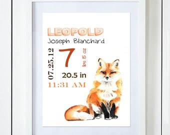 Fox Birth Announcement Baby Stats Watercolor Art Print