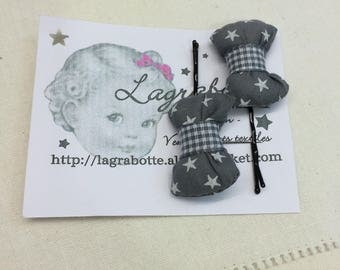 set of 2 BARRETTES with bow France Duval-Stalla color grey with grey stars
