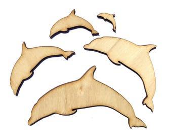 Blank Wooden Dolphin Plywood Scrapbooking Embellishment Wedding Decor Christmas