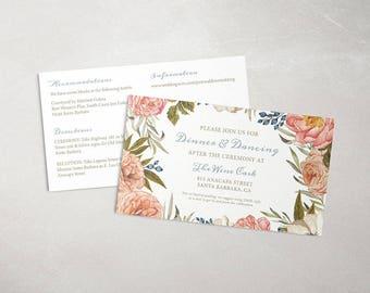 Gorgeous floral wedding details cards