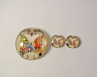 3 cabochons - multicolored butterflies - 30mm and 12mm - jewelry creations - embellishment