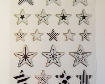 24 stickers transparent and Silver - Star stickers Board
