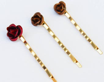 Bobby pins golden flowers, set of 3