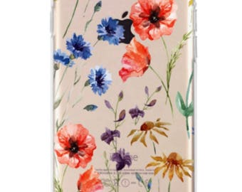 Iphone 7 Red and blue Flower Case