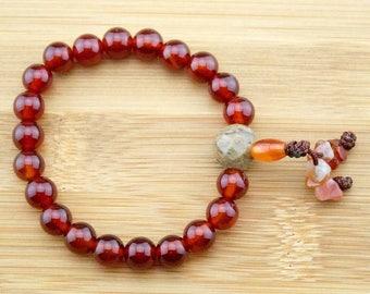 Carnelian Buddhist Mala Bracelet with Antique Glass | 8mm | Yoga Jewelry | Meditation Bracelet | Wrist Mala | Free Shipping