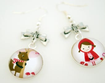EARRINGS SLEEPERS LITTLE RIDING HOOD RED - DO003