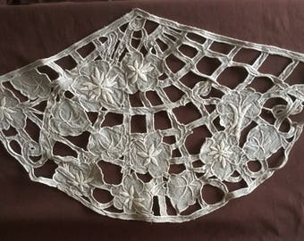 Tablecloth: Antique handmade doily, curtain or front of a cushion in Art Deco style. Vintage doily Napperon ancien