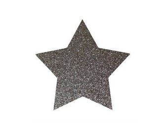5 X 4.8 cm grey glittery star fusible pattern